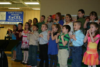 Children in Lisa Hawkins&#039; class performed at the ceremony.
