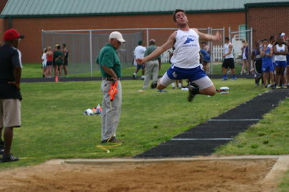LaRue County&#039;s Robert Gatton competed in the long jump May 10 during the Lincoln Trail Heartland Conference meet at LaRue County High School.