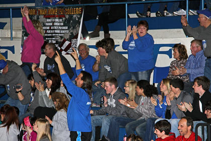 The fans were excited at the team&#039;s win.