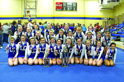 The LaRue County Middle School Cheerleaders competed Saturday at the Bethlehem Spring Classic. LCMS won their division, large middle school, and grand champion of the school team session. Elementary, middle and high school teams competed. Head coach is Megan Willard. Front from left, Emma Bowling, Virginia Taylor, Cristine Shive, Savannah Ratliff, Grace Armes, Rachel Armes, Kaylee Hornback, Hayley Cecil, Brittany Blair, Katelynn Lafollette, Kylee Thurman; middle, Haley McDowell, Chloe Sandidge, Malerie Skaggs, Destiny Kirby, Whitney Bauer, Kayla Heath, Emily Miller, Allison Kessinger, Madison Eads, Allison Bauer; back, Elyssa Hawkins, Trinity Perkins, Ashlen Grubbs and Daisy Graham.