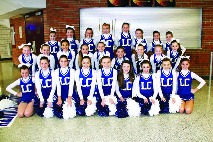 LaRue County Middle School Cheerleaders are front from left, Emma Bowling, Virginia Taylor, Rachel Armes, Hayley Cecil, Brittany Blair, Kaylee Hornback, Cristine Shive, Savannah Ratliff, Grace Armes; middle, Malerie Skaggs, Haley McDowell, Kylee Thurman, Daisy Graham, Destiny Kirby, Allison Bauer, Trinity Perkins, Chloe Sandidge, Elyssa Hawkins; back, Christina Hardin, Whitney Bauer, Allison Kessinger, Emily Miller, Ashlen Grubbs, Katelynn Lafollette, Kayla Heath and Madison Eads.