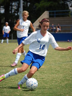 Mariah Wiseman and Savannah Brooks playing against Louisville Southern in last Saturday's win.