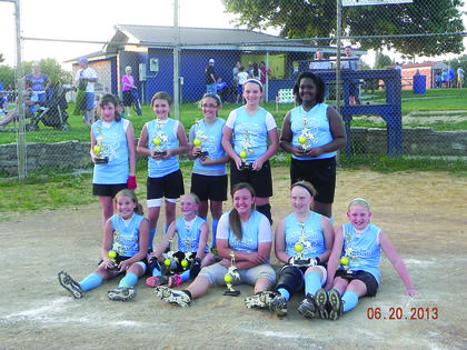 The Lady Hawks took second in the softball league and first in the tournament. Players are Haley McDowell, Katelyn Eads, Emma Bell, Emily Miller, Emily Circle; back, Kelly Sensabaugh, Lindsey Rucker, Maddie Gibson, Autumn Riggs and Essence Barbour. Not pictured, Madison Eads. Coaches are Melvin Bell, Cliff Circle, Chad Rucker and Jamie Miller.