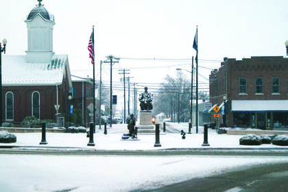 Lincoln Square was covered in snow Monday morning.