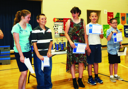 Abraham Lincoln Elementary School awarded numerous students for perfect attendance. Fifth-graders are Rachel Cundiff, Tristen Locke, Kelli Sensabaugh, Zachariah Robles and Biven Turner. Turner has six years, including kindergarten, perfect attendance.