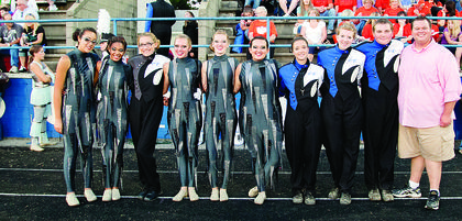 LaRue County Band of Hawks seniors were honored Saturday at the Lincoln Days Marching Invitational. From left, Amber Baptiste, Patricia Gibson, Lindsey Cowles, Brittany Eads, Sara Rogers, Maggie Mather, Ashley Whitaker, Emily Perkins, Nathan Hornback and Band Director Jaime Smith.