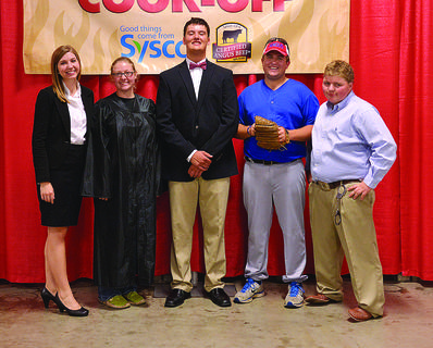 "Above, Kentucky juniors won first place overall in the senior ground beef division at the All-American Certified Angus Beef Cook-Off at the 2014 National Junior Angus Show July 6-12 in Indianapolis. Pictured from left are Ali Higgs, Frankfort; Leslie Craig, Harrodsburg; Corbin Cowles, Rockfield; Ben Conner, Hodgenville; and Logan Boyd, Mayslick. They prepared "" Kentucky's Final Verdict: Home Run"" and also claimed first place in the recipe and showmanship categories. The American Angus Auxiliary sponsored this event."