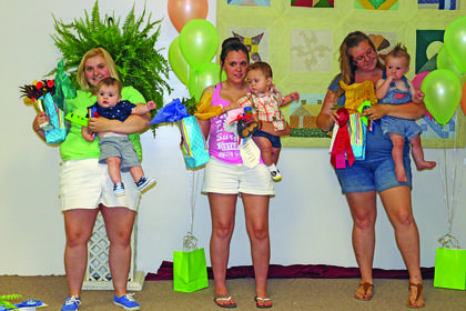 Winners of the Most Handsome Little Boy Show, ages 6 months to 1 year, were from left,  first – Bentley Blake Bush, son of Bethany and Alex Bush of Mount Sherman; third – Keaton Hunter Cruse, son of Brennan and Brittany Cruse of Magnolia; and second – Jaxson Charles Poore, son of Aaron and Jonathon Poore of Hodgenville.