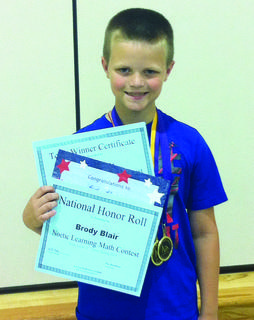 Brody Blair of Columbia, a second-grade student at Adair County Primary Center, received national recognition in the Noetic math assessment. He scored in the top 10 percent in the nation of all second-grade gifted and talented students. Brody is the son of Brett and Jennifer Rust Blair and the grandson of Pam and Steve Rust of Lyons Station.