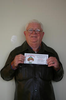 Charles H. Edlin was the turkey winner at The LaRue County Herald News.