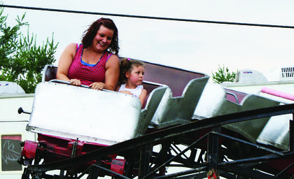 Hayley Foster and her niece, Madison Foster, 7, enjoyed the roller coaster.