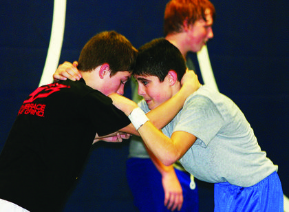 Dalton Bell, right, grappled with a Taylor County High School wrestler during last week's practice.