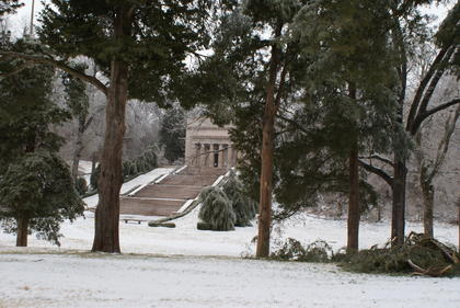 Several limbs have broken from trees at the Abraham Lincoln Birthplace National Historic Park.