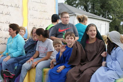A church youth group rode on a float.