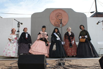 Mary Todd Lincoln Look-Alikes are from left, Jane DeBeaumont; Linda Brewer; Susan V. Miller, second; Melanie Van Tassel, winner; Dona Ebert, and Mary Elliott, third.