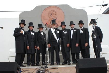 Lincoln Look-Alikes are from left, Larry Elliott, second; Ted Bruzas; Tom Wright; Chester Damron, winner; Vernon Risty; Chris Killmeier, third; and Rick Yarbrough.