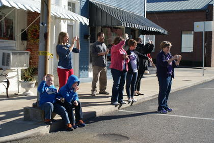 The Hazle family gathered on Lincoln Boulevard to watch the Veterans Day Parade.