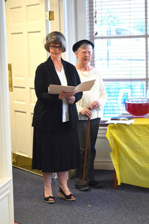 Left, Dressed in period clothing, Lynn Claycomb, left and Judy Greenwell, right, gave a presentation about the establishment of the first Library in LaRue by the Ladies Lincoln League.