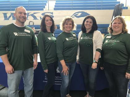 LaRue County Extension staff pause for a photo. Pictured from left to right are Daniel Carpenter, Sue Ann McCandless, Patty Holbert, Marcy Ward and Misty Wilmoth.