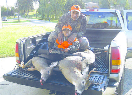Bryson Mills harvested two deer on his first hunt Oct. 13. He took a 130-pound, seven-point buck and 122-pound doe. He used a .223 rifle for his first trophies. His father, Rondale Mills, of Hodgenville accompanied him on the hunt.