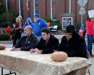 From left, Ricky Whitlock, Kyle Williamson and Gordon Thomas were the judges of the Costume Contest on the Square sponsored by the LaRue County Chamber of Commerce.