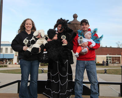 Winners of the under 1-year-old costume contest were from left, Audrey Roberts (funniest), Ellie Day (original) and Addison Masure (cutest).