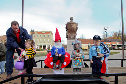 Winners of the 3 to 4-year-olds costume contest were from left, Arisa Wolford (cutest), Isabella Day (original), Caden Hack (scariest) and Chayden Smith (funniest).