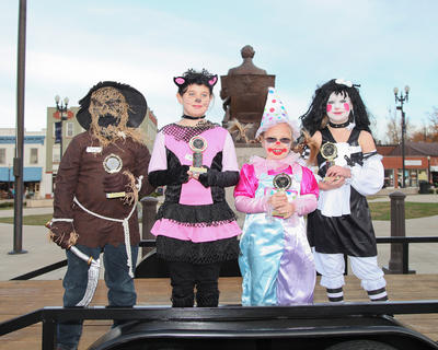 Winners of the 9-to-12-year-olds costume contest were from left, Isabella Venegas (scariest), Abby Hicks (funniest), Dylan Lambert (original) and Abigail Hazelwood (cutest).