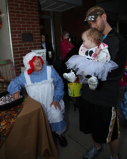 Ramona Coffey handed out goodies at The LaRue County Herald News booth.