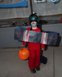 Lian Layo dressed as an airplane at Trick-or-Treat on the Square.