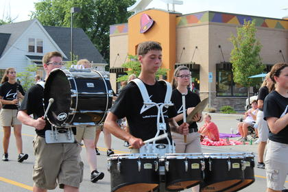The LaRue County Band of Hawks participated in the parade before attending their first competition in Adair County that evening.