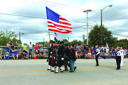 Union soldiers carried the colors during the Lincoln Days parade