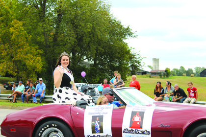 LCHS Homecoming Queen Alexia Trumbo rode in a classic car during the parade. Trumbo also participated as a performer during this year's festival.