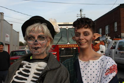 Skeleton Barbara Rutecki poses with science experiment gone wrong J.J.