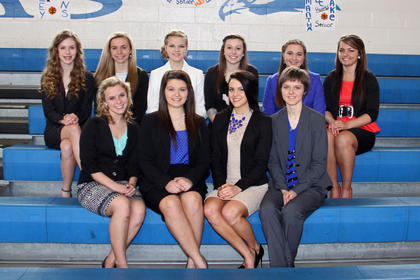 Members of the LaRue County High School Homecoming Court are front from left, seniors Keely Hamilton, Shelbi Brooks, Sadie Peters, Samantha Drake; back, Gillian Nunn, Brittany Blair, Savannah Brooks, Paige King, Alison Shurfeld and Bethany Akin.