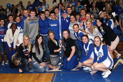 LaRue County High School seniors accepted the Homecoming Spirit Stick during the basketball game on Friday. Students compete against other classes for the spirit stick in activities that include dressing up, participating in pep rally games, creating banners to hang during the game and others.
