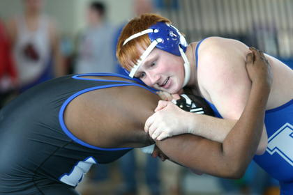 Clayton Engle, LaRue's 220-pounder, locked up with North Hardin's Lacory Roberson in quarterfinals. Engle fought off a pin for several seconds near the end of the match – eventually falling 4-11 in the match.