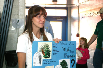 Lindsey Boone explained the different kind of trees available from the LaRue County Conservation District.