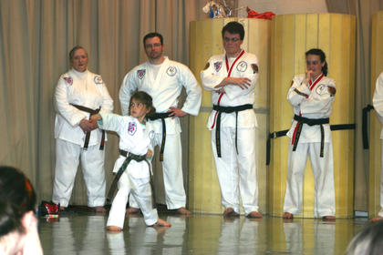 Sallee's Tae Kwon Do put on a demonstration.