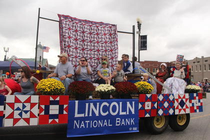 Lincoln National Bank won first place with their float during the Lincoln Days parade.