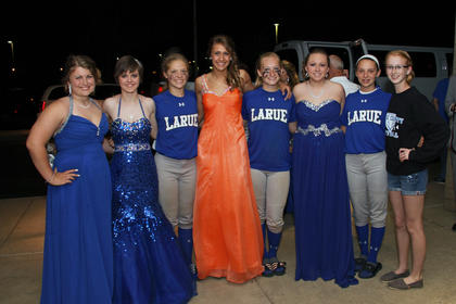 Members of the freshman Lady Hawks' softball team played in a tournament at Central Hardin Saturday. After finishing third and beating Central Hardin 5-2 in the tournament, they attended the LaRue County High School prom. From left, Emillee Cundiff, Samantha Drake, Kaitlyn Warshuis, Allyson Yingling, Chasity Bryant, Peyton Gardner, Autumn Riggs and Jordan Bradley.