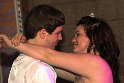 LaRue County High School student Jackie Dailey and her date, Christian Evans, danced at Saturday's prom.
