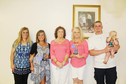 The winners of the Parent and Child Lookalike contest are pictured from left: 1st place Monica and Tiffany Underwood, 2nd place Tracey Williams and Jo Bowen and 3rd place Nick Yount and Cash Yount.