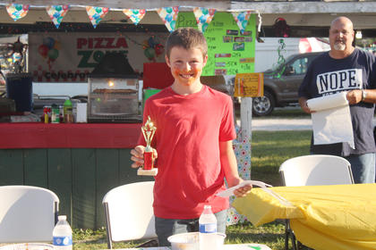 Hunter Castell was the winner of the kids spaghetti eating contest.