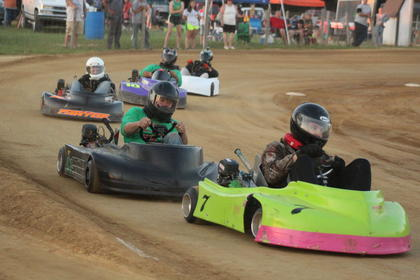 LaRue County Speedway Go-Karts results: Junior – # 01 Cole Staples, Adult Beginner – #15 Chasity Allen, Claimer Lite – #7 Austin Lewis, Over the Hill – #14 Steve Self, Claimer Heavy – #22 Scotty Self, Unlimited Pro Clone – #12 Autum Anderson and Sumo – #5 Jimbo Skaggs.