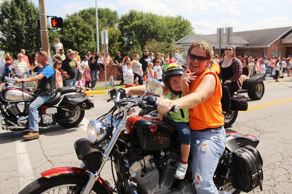 Karen Lafollette rode in the Iron Horse parade with her granddaughter on Saturday.