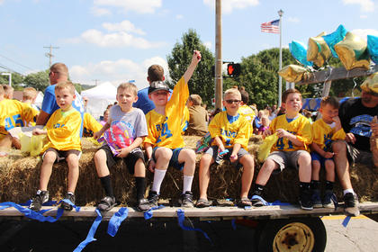 "Southwest Nelson County Football had a float full of young football players cheering ""GO RAMS!"""