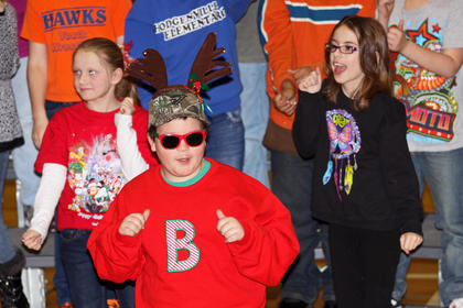 "Fourth grader Cruz Lile struts his stuff in ""Blitzen's Boogie."""