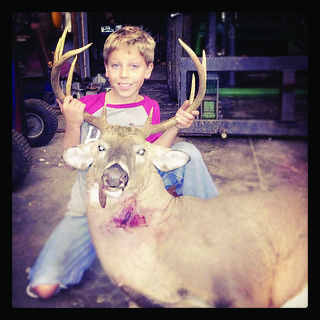 Jasper Shrader, 8, of Upton, killed a 10-point buck weighing 245 pounds on opening day of youth deer season. He shot the buck with a .243. It took him one shot to nail the massive buck. His dad, Nathan, took him hunting on their LaRue County farm.