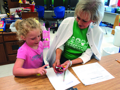 incoming kindergarten student, Rachael Hammons, was screened by Janice Jones at Hodgenville Elementary School.